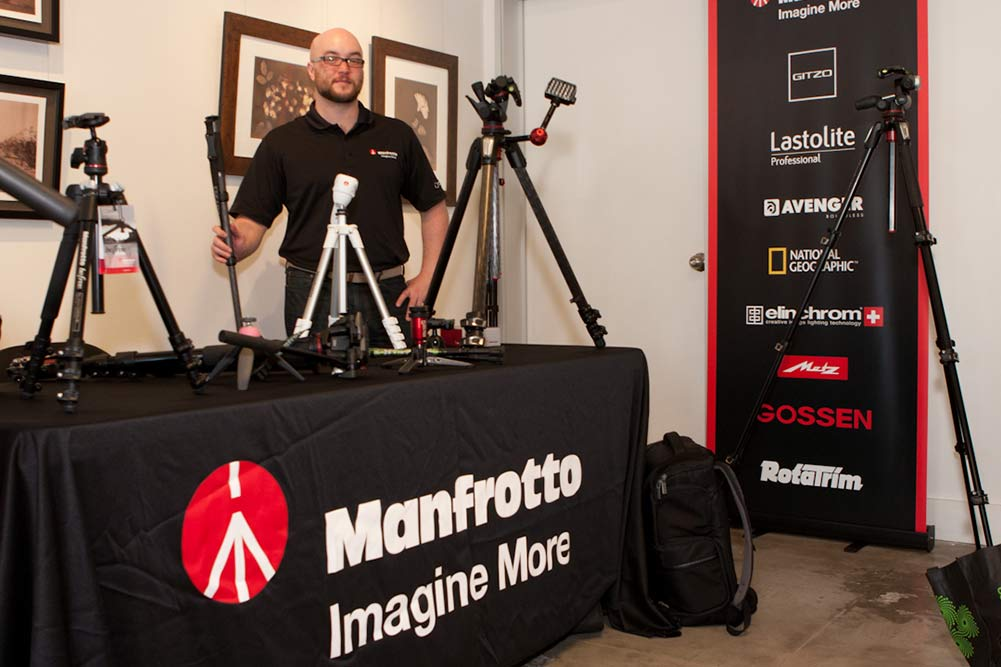 Representative from Manfrotto at LACP Spring Open House, 2015