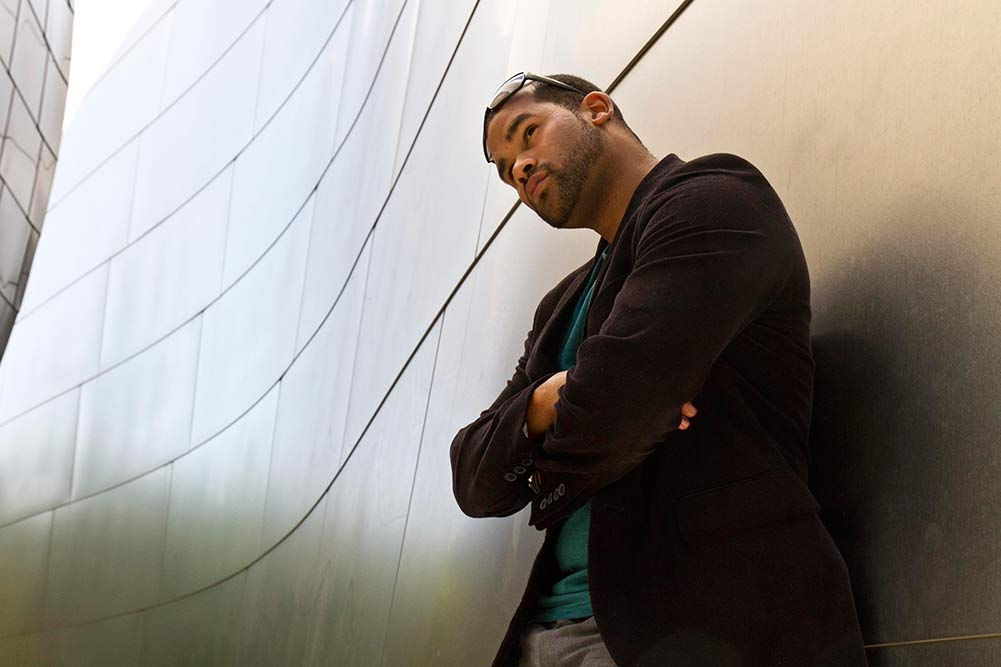 Photo of LACP male model at Disney Hall during a workshop, taken by One-Year Professional Program studnet Judy Wang