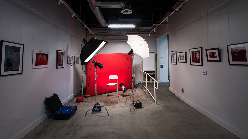 A studio set up at the Los Angeles Center of Photography