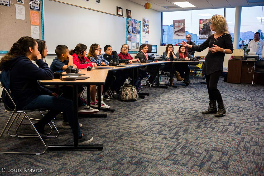 Students at Boyle Heights Boys and Girls Club learning photography by intructor Julia Dean